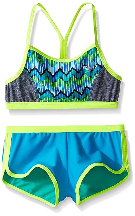 591dab378e496 Speedo Girls Digi Zig Zag Heather Two Piece Boyshort Bikini Set ...