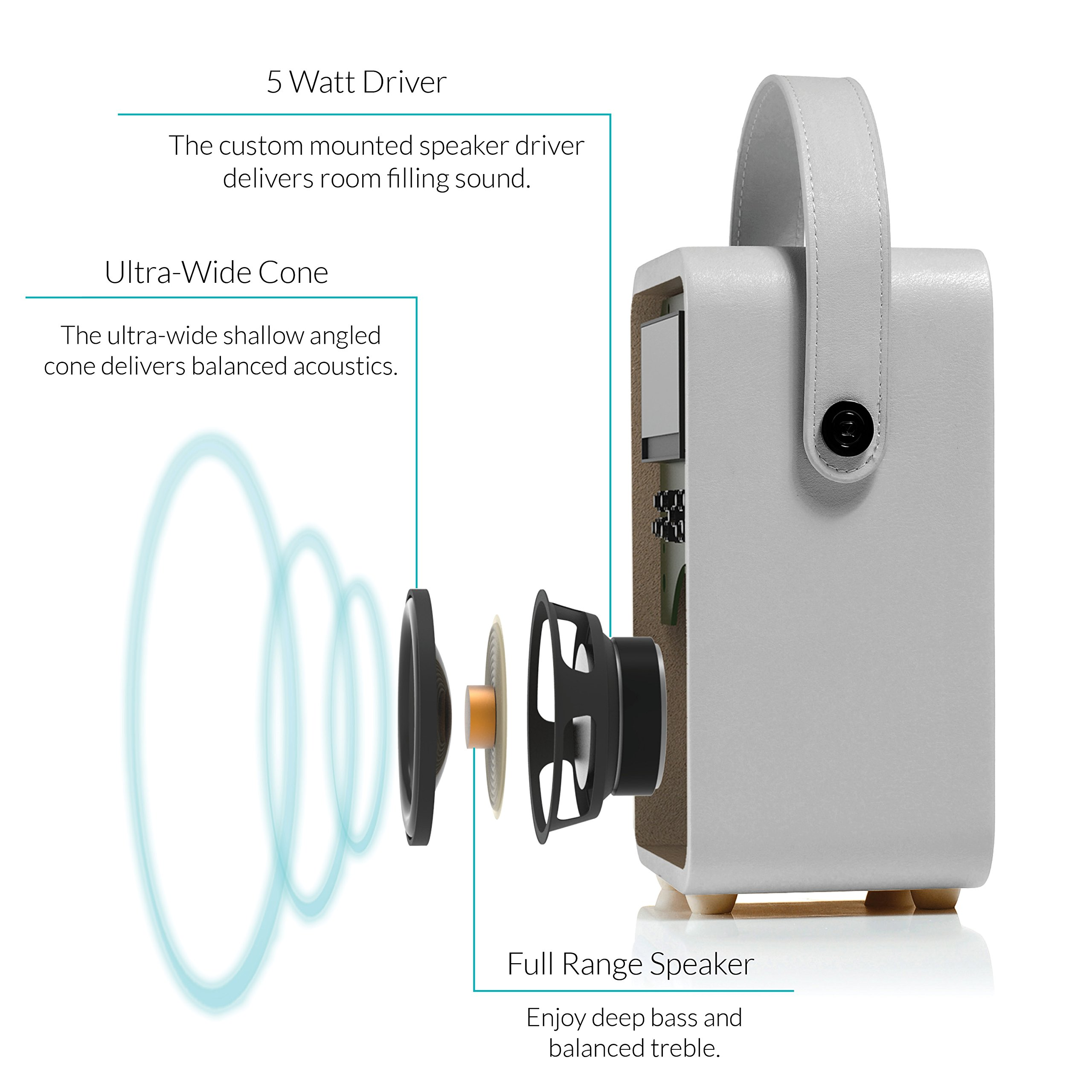 Retro Mini by VQ   Radio & Bluetooth Speaker with AM/FM & HD Radio, Dual Alarm Clock Mains or Battery – Premium PU Leather Case Light Grey by VQ (Image #5)