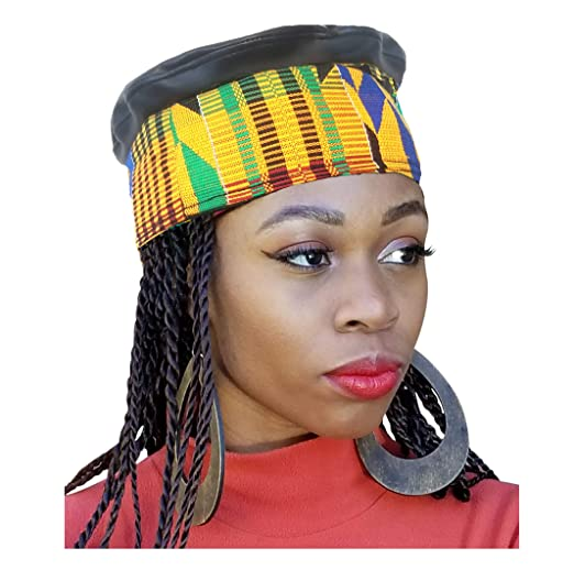 31924af6513 Amazon.com  African Hand Woven Kente Kufi Hat with Faux Leather ...