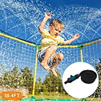 39.4FT(12M)Trampoline Sprinkler for Kids,Outdoor Trampoline Water Sprinkler Waterpark,Heavy Duty Sprinkler Hose,Summer Outdoor Water Sprinkler Toys Accessories (Black)