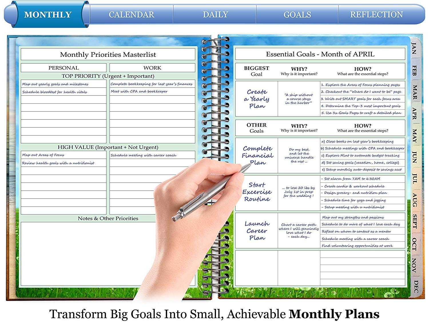 2019-2020 Planner - April 2019 to June 2020 - Daily Weekly Monthly - 8.5'' x 11'' Hardcover - by Tools4Wisdom by Tools4Wisdom (Image #2)