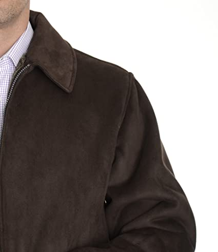 Perry Ellis Portfolio Brown Faux Suede Faux Fur Lining Zippered Car Coat  Jacket at Amazon Men s Clothing store  b0f258126