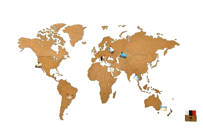 MiMi Innovations - Lussuosa Decorazione da Parete in Legno con Mappa del Mondo 130 x 78 cm - Bianco