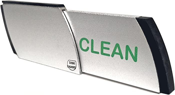 Premium Stainless Dishwasher Magnet Clean Dirty Indicator | Kitchen Gadgets for Dishwashers - Home or Office Organization Padded Magnets or 3M Tabs (Red & Green Lettering)