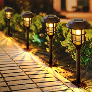 LETMY Solar Pathway Lights Outdoor, 8 Pack Bright Solar Lights Outdoor, IP65 Waterproof Auto On/Off Solar Garden Lights Solar Powered Landscape Lighting for Yard Patio Walkway Driveway Pathway