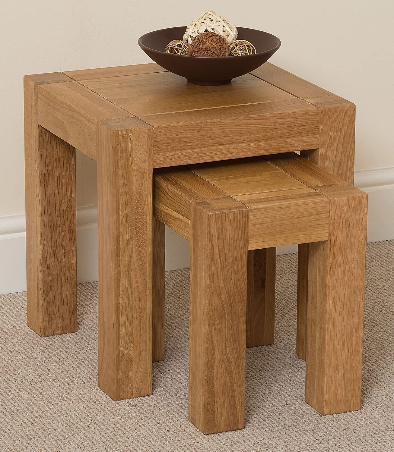 Kuba Chunky Solid Oak Wood Nest of 3 Coffee Side End Tables Living