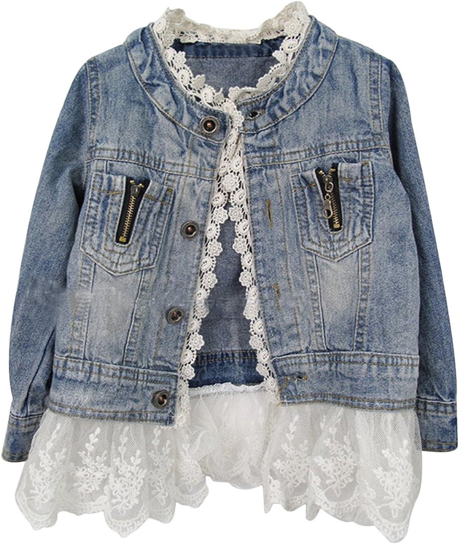 Kids Jean Jacket Toddler Girls Spring Denim Jackets Lace Outwear Cowboy Overcoat: Clothing