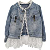 Kids Jean Jacket Toddler Girls Spring Denim Jackets Lace Outwear Cowboy Overcoat