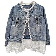 Kids/Girls Jean Jacket Toddler Spring Denim Jacket Lace Outwear Cowboy Overcoat