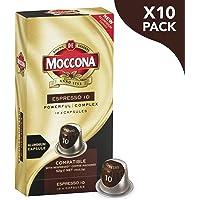 Moccona Coffee Espresso - Intensity 10 - 100 Aluminium Capsules Compatible with Nespresso®* Machines (10x10 Pods Pack)