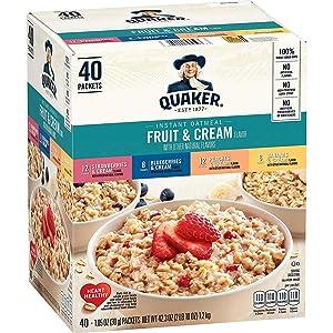 Quaker Quaker Instant Oatmeal Fruit And Cream Flavors 40 X 1.05 OunceNet Wt 42.3 Ounce , 42.3 Ounce