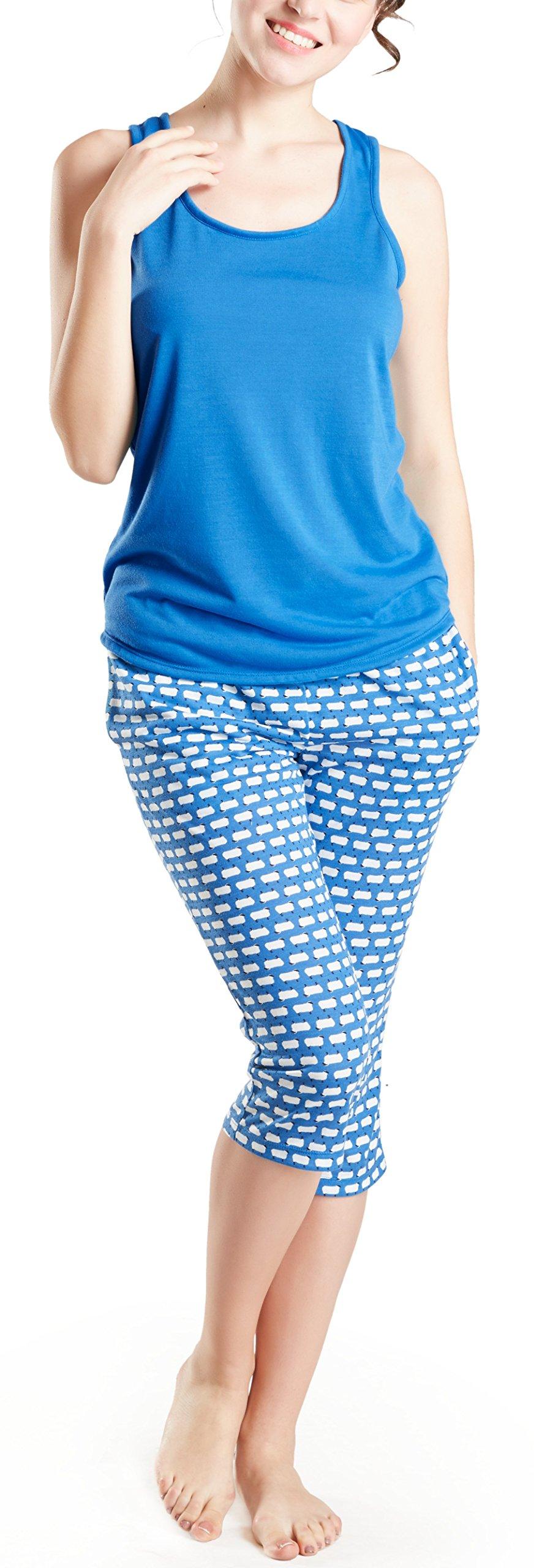 Summer Pajamas for Women, Cute Print Capris Pajama for Woman - Pjs Women Jersey Tank Top and Capri Jogger Pants Set Counting Sheep XL