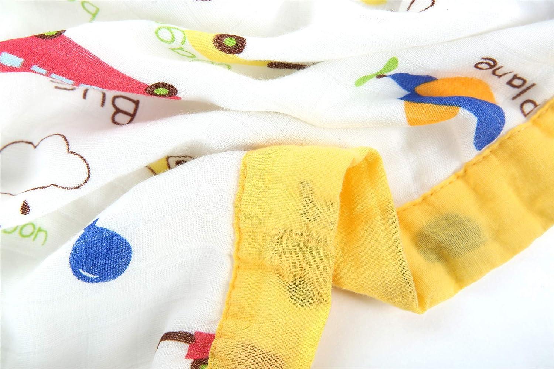 120 x 120 cm transpirable ultra suave Manta de muselina de 4 capas extragrande toalla de bamb/ú prelavada extra gruesa hasta 5 a/ños Aeroplane Talla:120 X 120CM para reci/én nacido