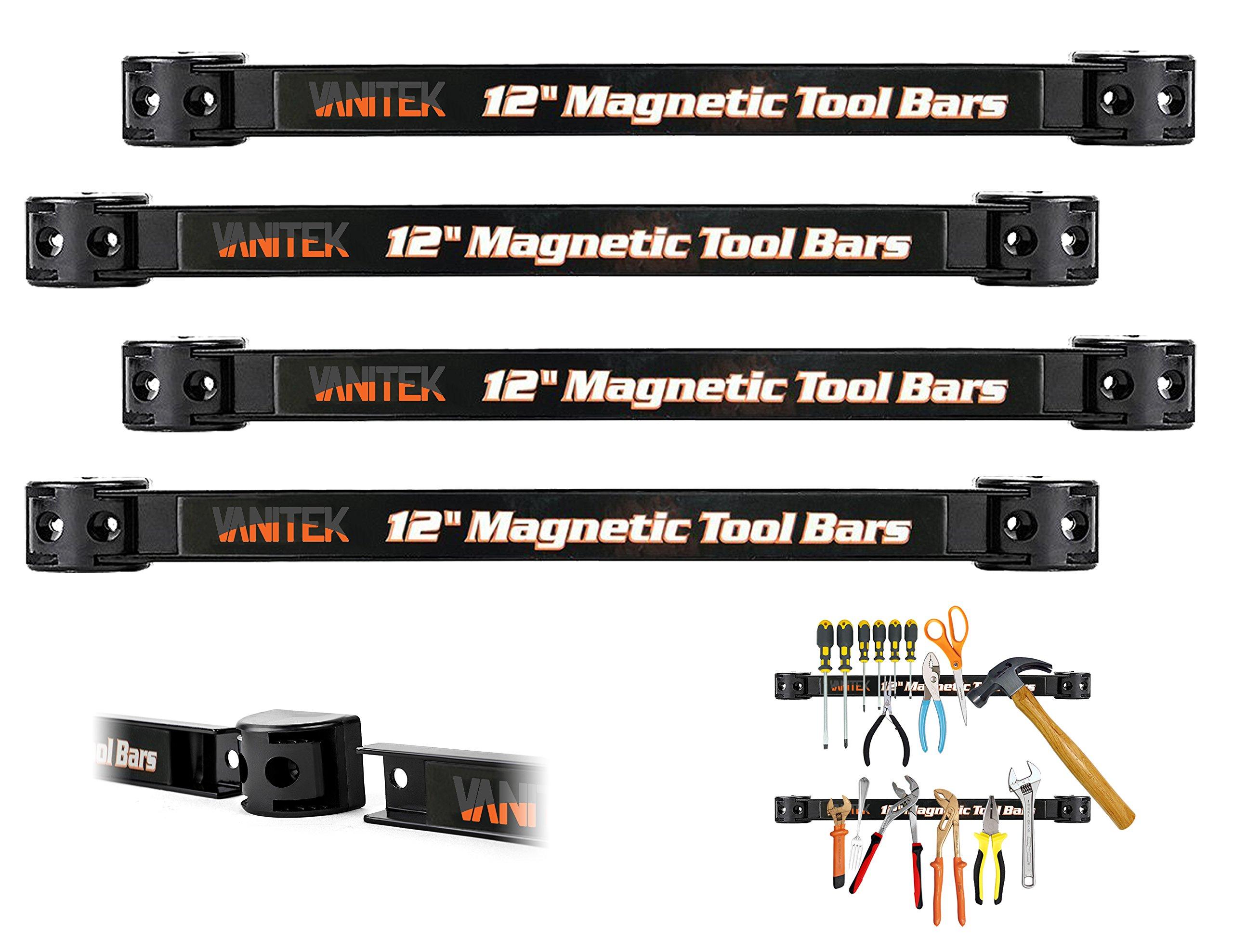 Vanitek 4 Heavy-Duty 12'' Magnetic Tool Holder Racks | Super Strong Metal Magnet Storage Tool Organizer Bars Set | Great for Garage/Workshops (Mounting Screws Included) by Vanitek