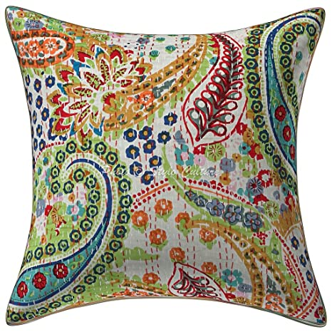 Amazon.com: Algodón decorativo funda de cojín impreso Kantha ...