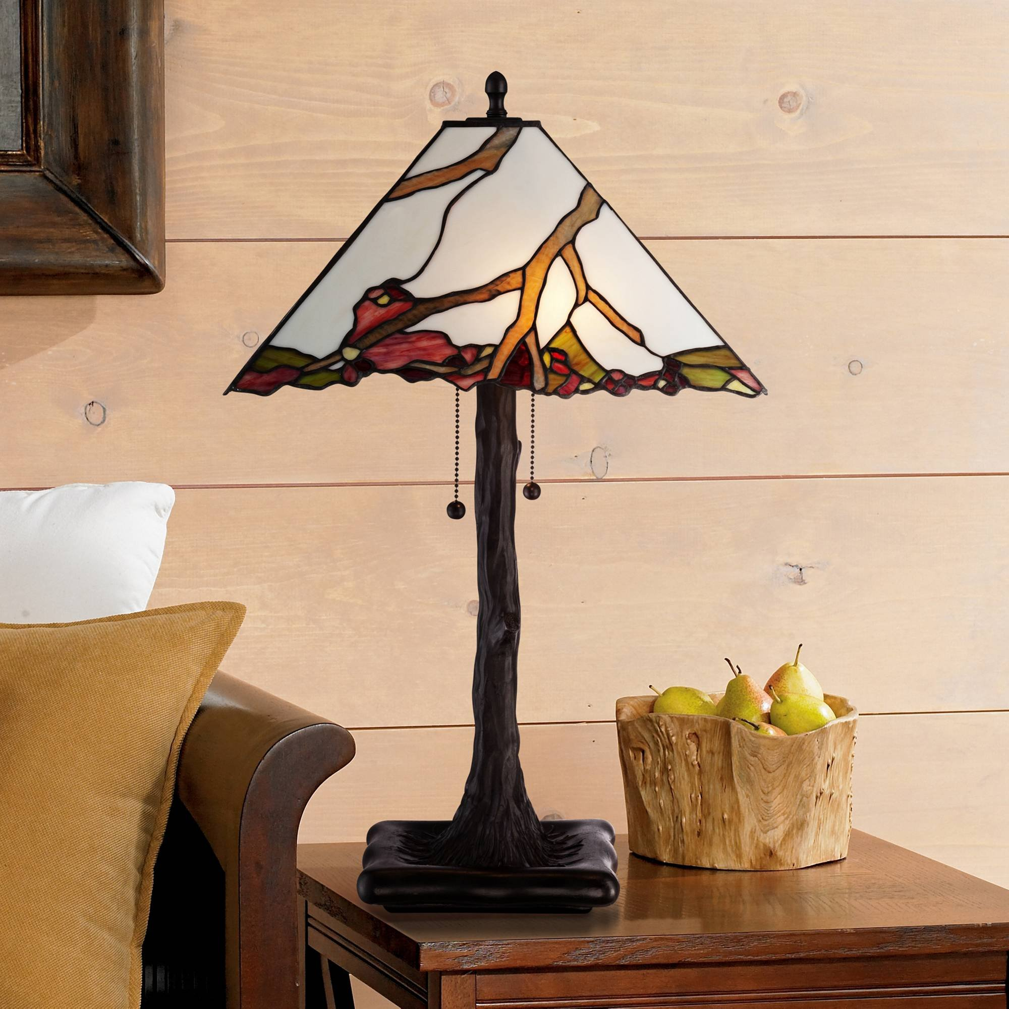 Tiffany Style Table Lamp Dark Bronze Cherry Blossom Stained Glass Shade for Living Room Family Bedroom Bedside Nightstand - Robert Louis Tiffany