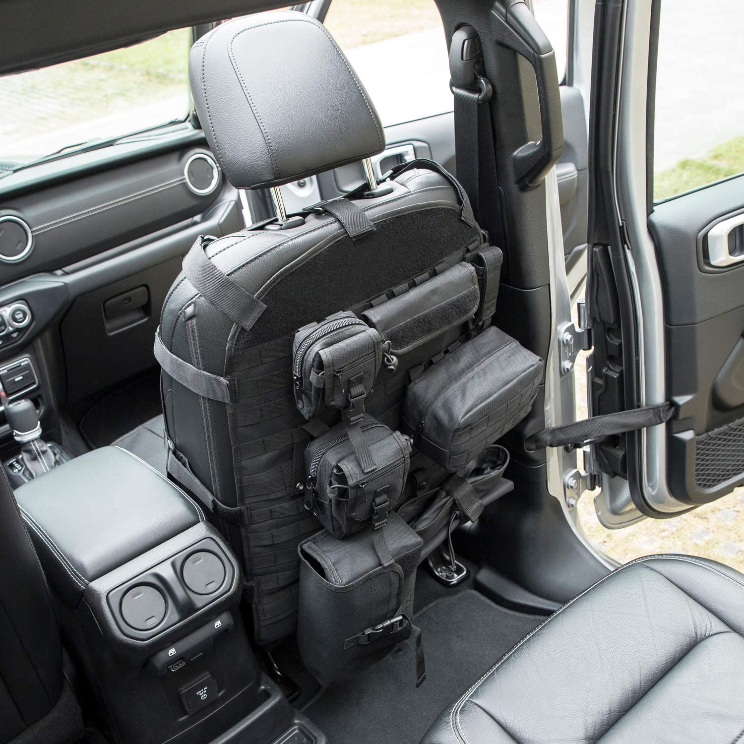 Sunluway Universal Front Seat Cover Case with Storage Bags for 1956-2019 Jeep Wrangler CJ YJ LJ JK JL Ford Toyota Jeep Cherokee etc.
