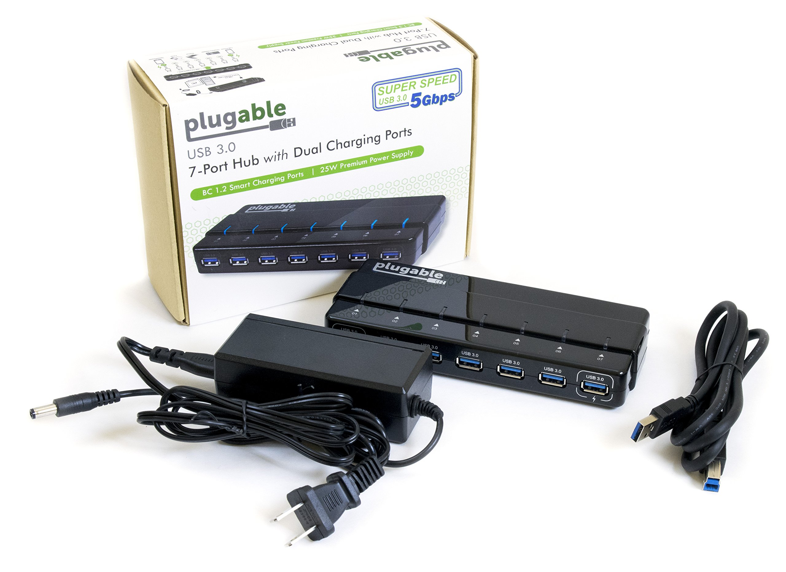 Galleon plugable 7 port usb 3 0 hub 25w powered usb hub - Plugable 7 port usb 3 0 superspeed hub ...