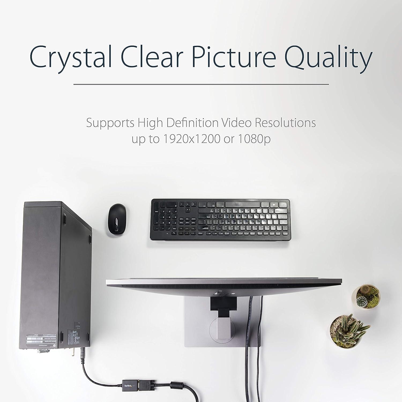 StarTech.com DP2VGA2 DisplayPort schwarz Konverter mit bis zu 1920x1200, DP 20 Pin zu VGA 15Pin DP Bu auf VGA Adapter St