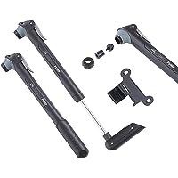 Dansi Staande luchtpomp zwart met adapters; praktische fiets-luchtpomp geschikt voor alle ventielen SV AV DV I…