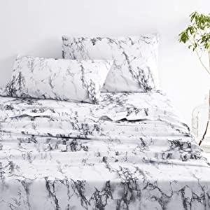 Wake In Cloud - Marble Sheet Set, Black White and Gray Grey Modern Pattern Printed, Soft Microfiber Bedding (4pcs, Queen Size)