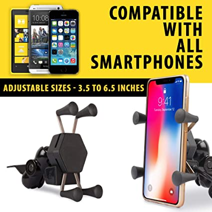 6e7e246ad0 Autofy A-12 X-Grip FBABAHOLDER0003 Bike Mobile Charger with Phone Holder  (Black): Amazon.in: Car & Motorbike