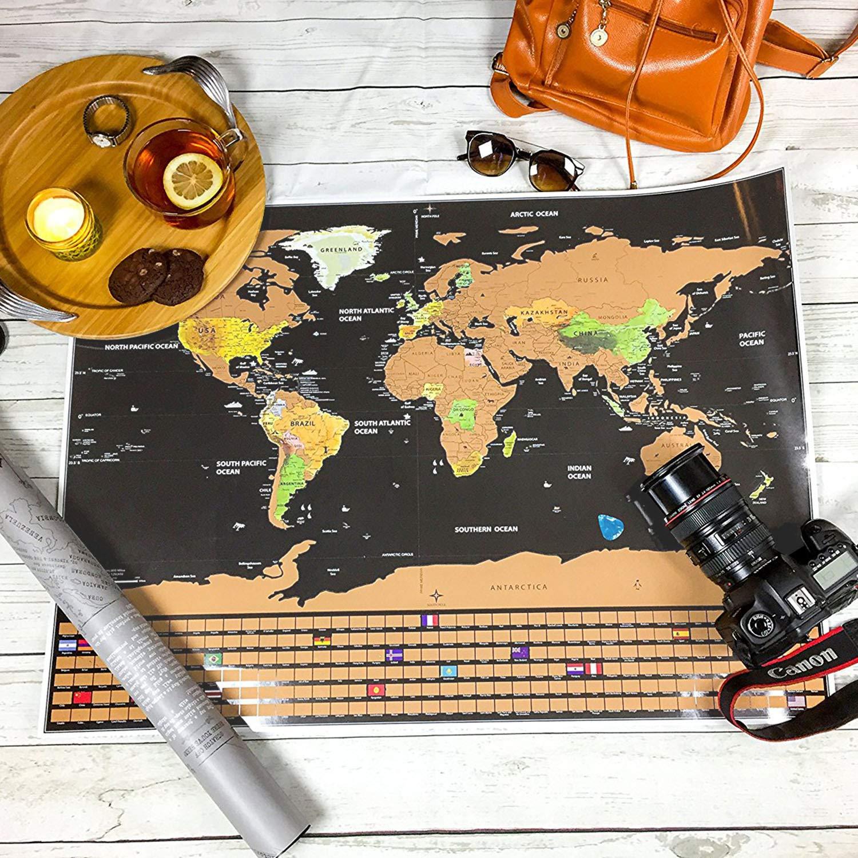 mapa del mundo detallado con banderas de los Estados Unidos y del pa/ís regalo perfecto para viajar Anpro Mapa del mundo para rascar kit de accesorios abundantes y tubo de regalo