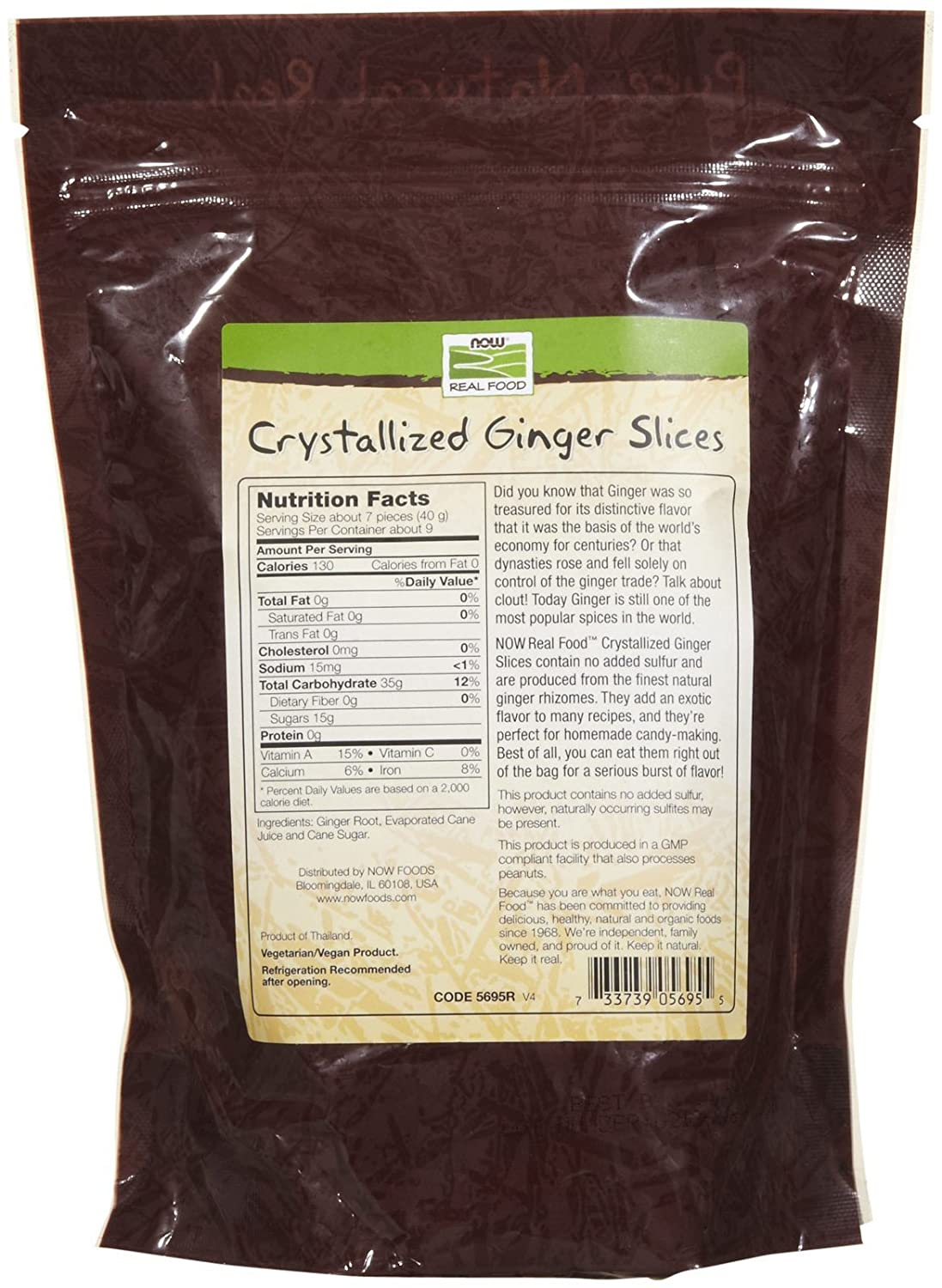 Now Foods Crystallized Ginger Slices No Sulfur 12 Threads Oz Herbal Supplements Grocery Gourmet Food