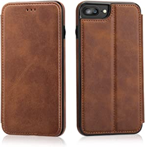 iPhone 8 Plus iPhone 7 Plus Flip Case with Wallet Card Holder, OT ONETOP Premium PU Leather Hidden Magnetic Closure Kickstand Protective Cover Case Compatible with iPhone 7/8 Plus 5.5 Inch - Brown