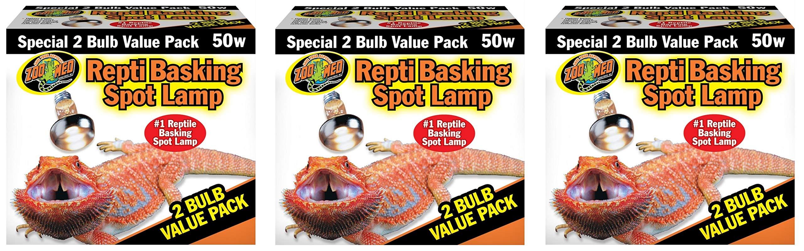 Zoo Med Reptile Basking Spot Lamp 50 Watt - 6 Bulbs Total (3 Packs with 2 per Pack) by Zoo Med