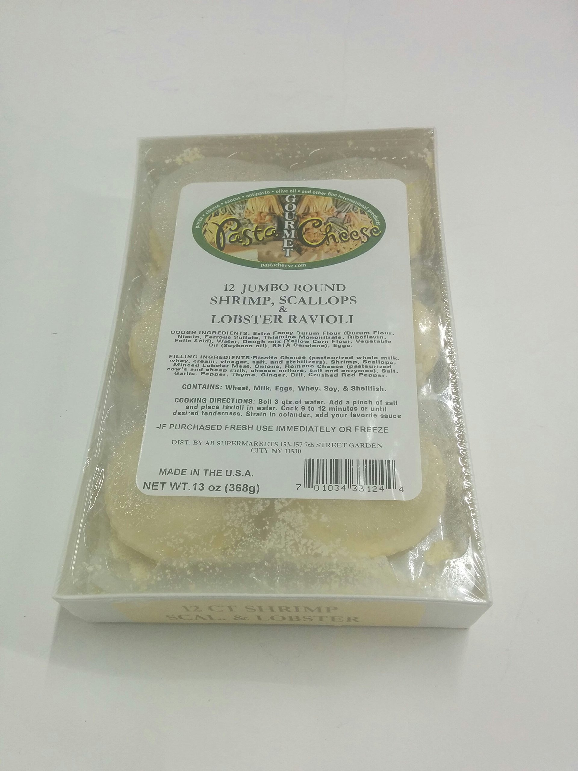 PastaCheese Fresh Jumbo Round Shrimp Scallop and Lobster Ravioli, 13 Ounce (Pack of 3) by PastaCheese