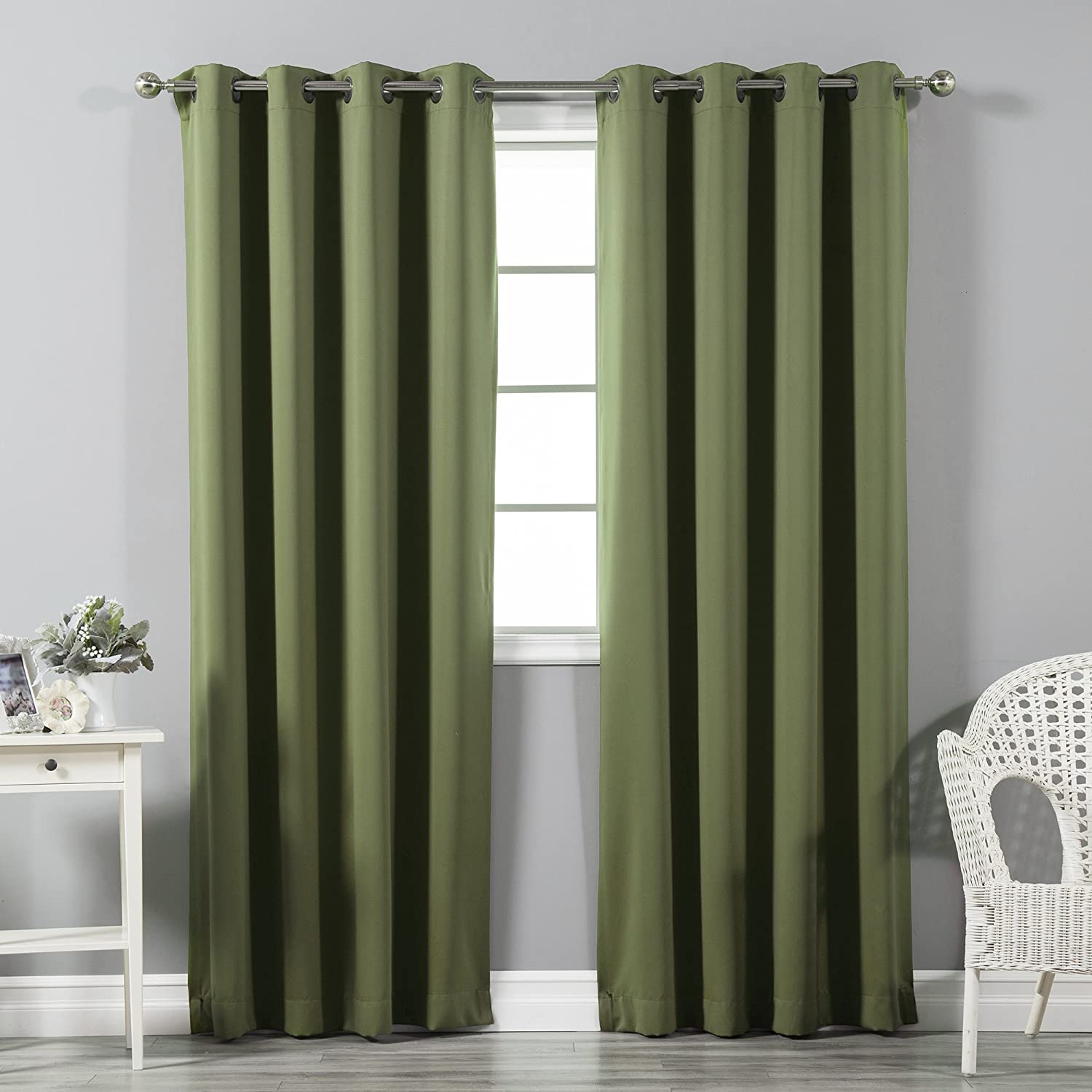"Best Home Fashion Premium Thermal Insulated Blackout Curtains - Antique Bronze Grommet Top - Olive - 52"" W x 108"" L - Tie Backs Included (Set of 2 Panels)"