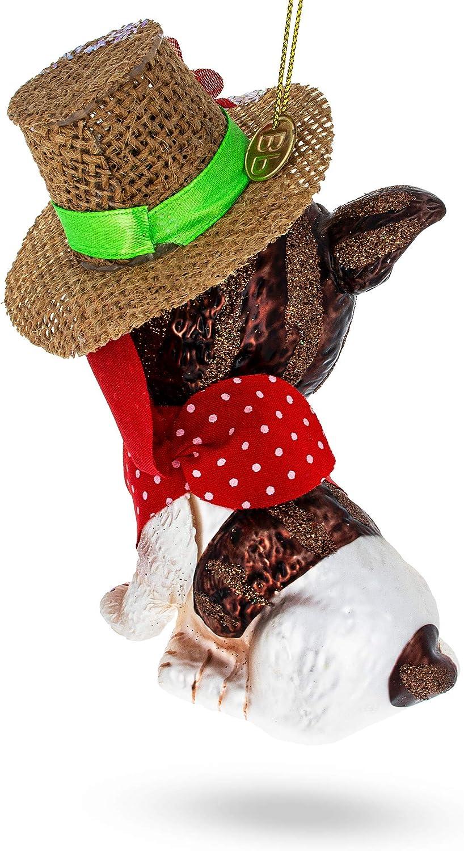 BestPysanky Boston Terrier Glass Christmas Ornament