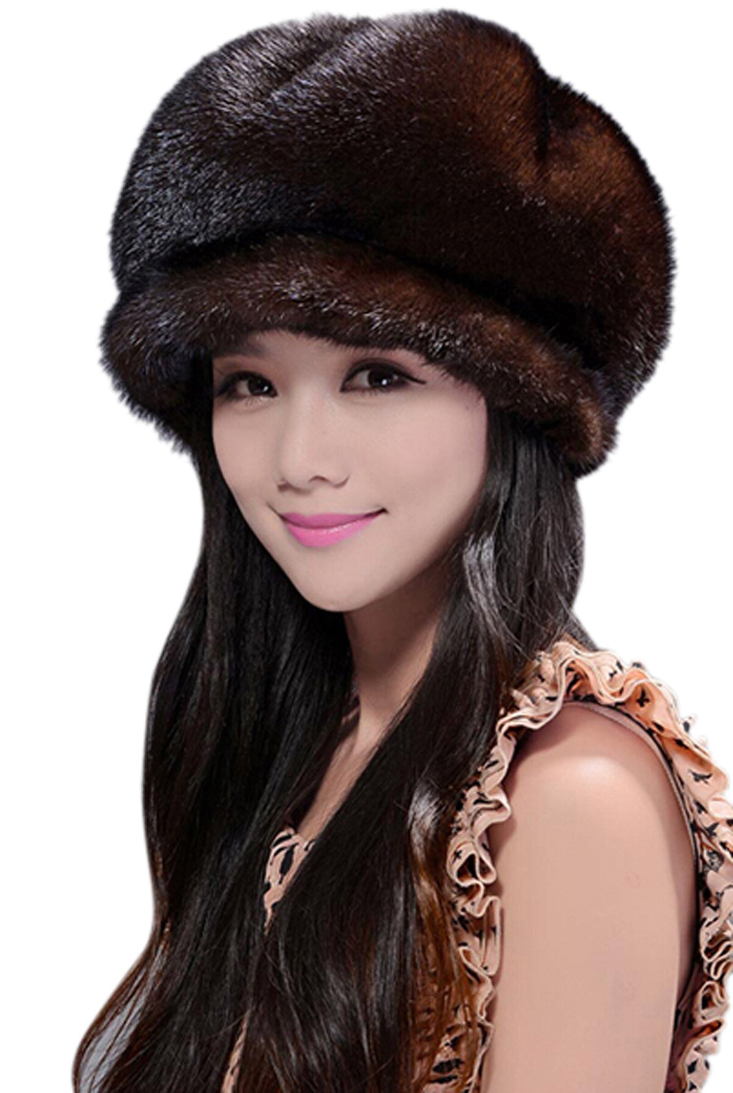 Easting New Fashion Women's 100% Real Genuine Mink Fur Cap (Dark Coffee) by Easting&co