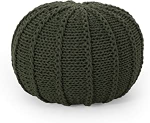 Christopher Knight Home Corisande Modern Knitted Cotton Round Pouf, Green