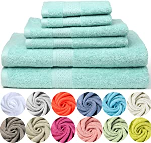 Paekabao Home Absorbent 6-Piece Towels Towel Set|2 Bath Towels, 2 Hand Towels, and 2 Washcloths|Luxury 100%Cotton Towel Set for Bathroom & Kitchen & Beach & Spa (Bamboo Color, 6-Piece Towel Set)
