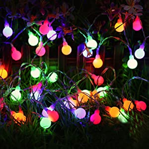 Globe String Lights,65 ft 200 LED Decorative Lights with Remote and 8 Modes, Waterproof Fairy String Lights in Multi-colors for Outdoor Decor,Indoor,Garden,Patio,Party Wedding,Christmas
