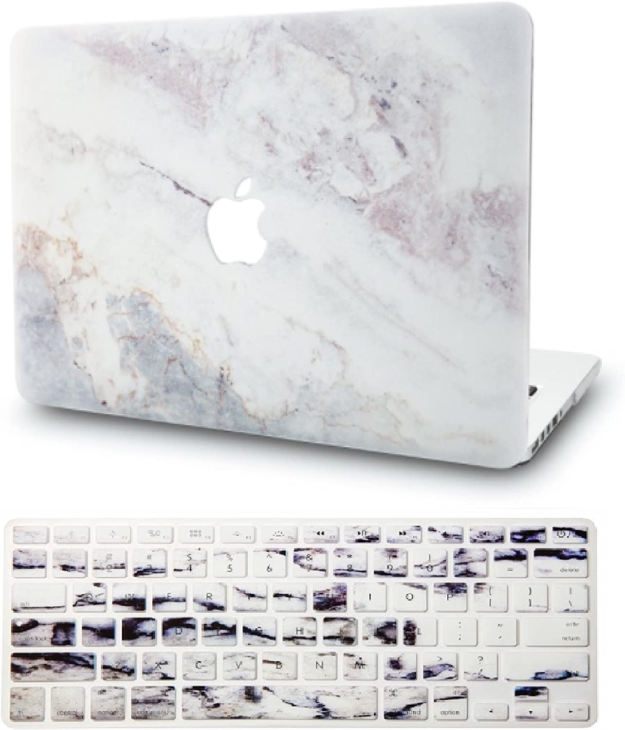 "KECC Laptop Case for New MacBook Air 13"" Retina (2019/2018, Touch ID) w/Keyboard Cover Plastic Hard Shell Case A1932 2 in 1 Bundle (White Marble 2)"