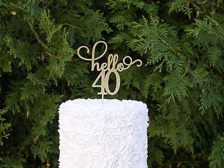 Decoración de cumpleaños con purpurina dorada para 40 ...