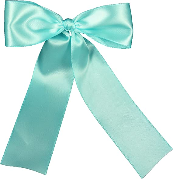 25pcs Light Blue 3 mm x 2 mm Pre-Tied Ribbon Bows in wedding or birthday Party