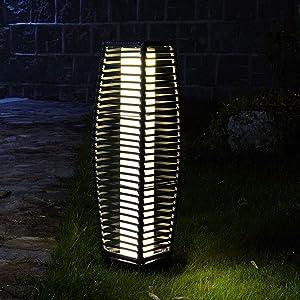 Grand Patio Outdoor Floor Lamp, Solar Powered Wicker Light, Weather–Resistant Rattan Floor Lamp for Patio, Deck and Garden