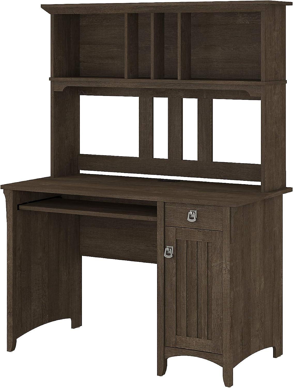 Bush Furniture Salinas Small Computer Desk with Hutch, Ash Brown