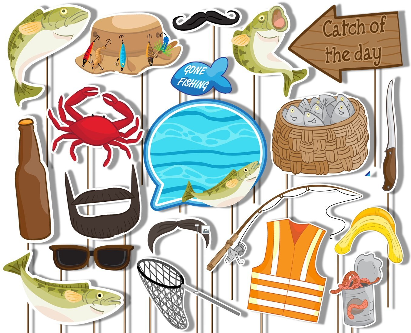Gone Fishing Photo Booth Props Kit - 20 Pack Party Camera Props Fully Assembled