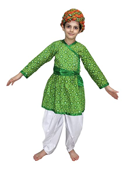 82a5716e2 Amazon.com: Rajasthani Boy Green Color fancy dress for kids,Indian State  Traditional Wear for Annual function: Clothing