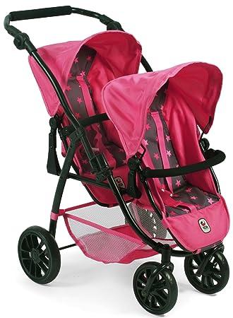 Bayer Chic 2000 689 82 Tandem Buggy Vario, Twin Dolls Pram, Stars Pink