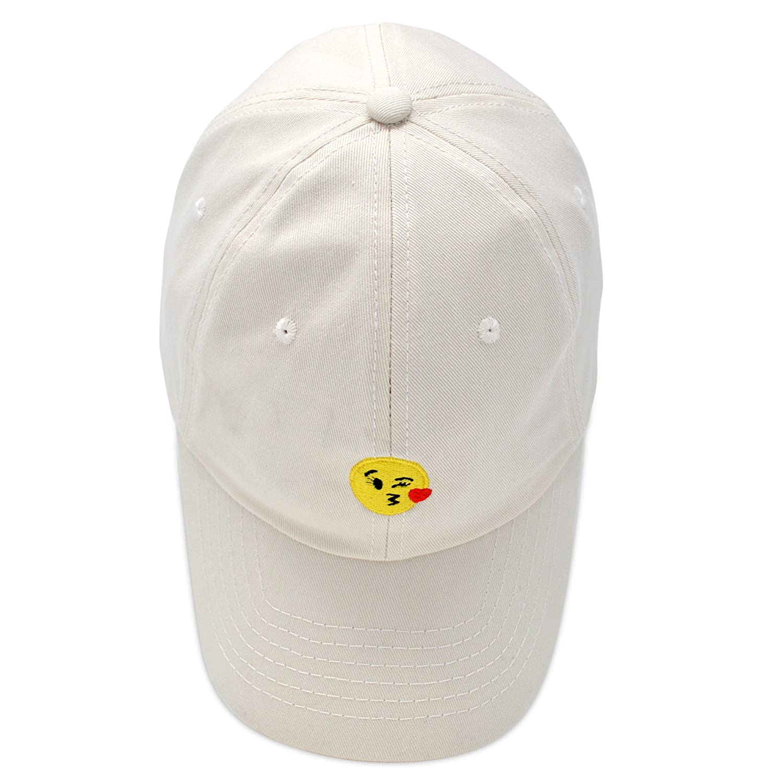 4d3091bd6a8 Amazon.com  DALIX Kiss Emoji Hat Dad Hats Cute Baseball Cap for Women  Beige  Clothing