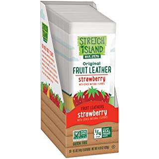Stretch Island Strawberry Original Fruit Leather Snacks - Vegan | Gluten Free | Non-GMO | No Sugar Added - 0.5 Oz Strips (30 Count)