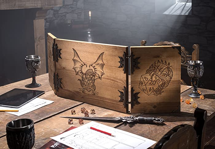 Large Wooden Dragon Design Dungeon Master Screen: Amazon co