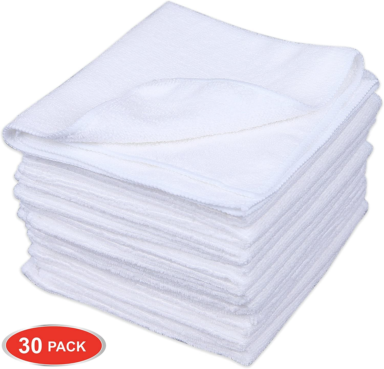 CARTMAN Microfiber Cleaning Cloth in White Color 14 in x 14 in, 30pk (White)