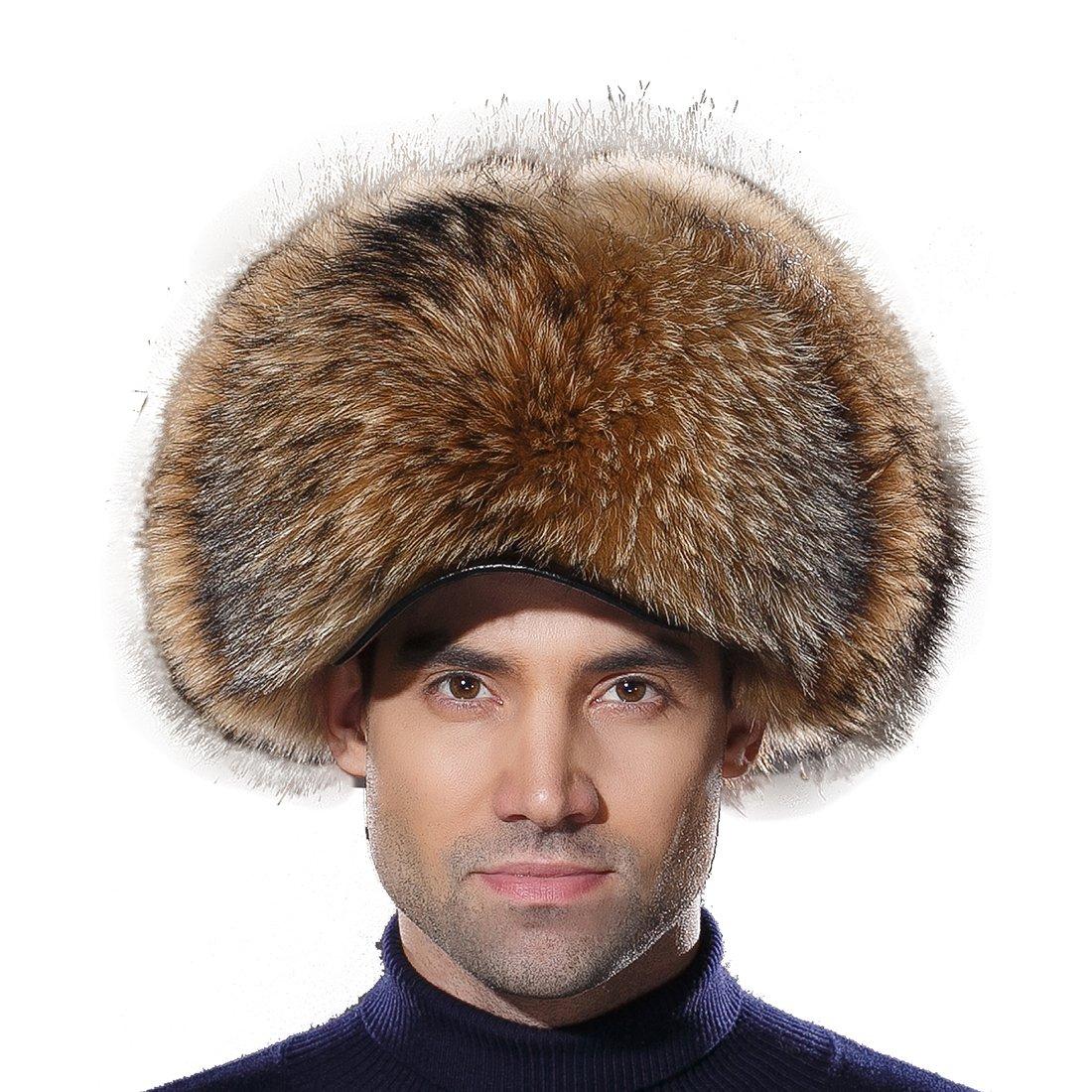 URSFUR Russian Fur Trapper Hat Leather Winter Men Real Raccoon Fur Visors Cap by URSFUR
